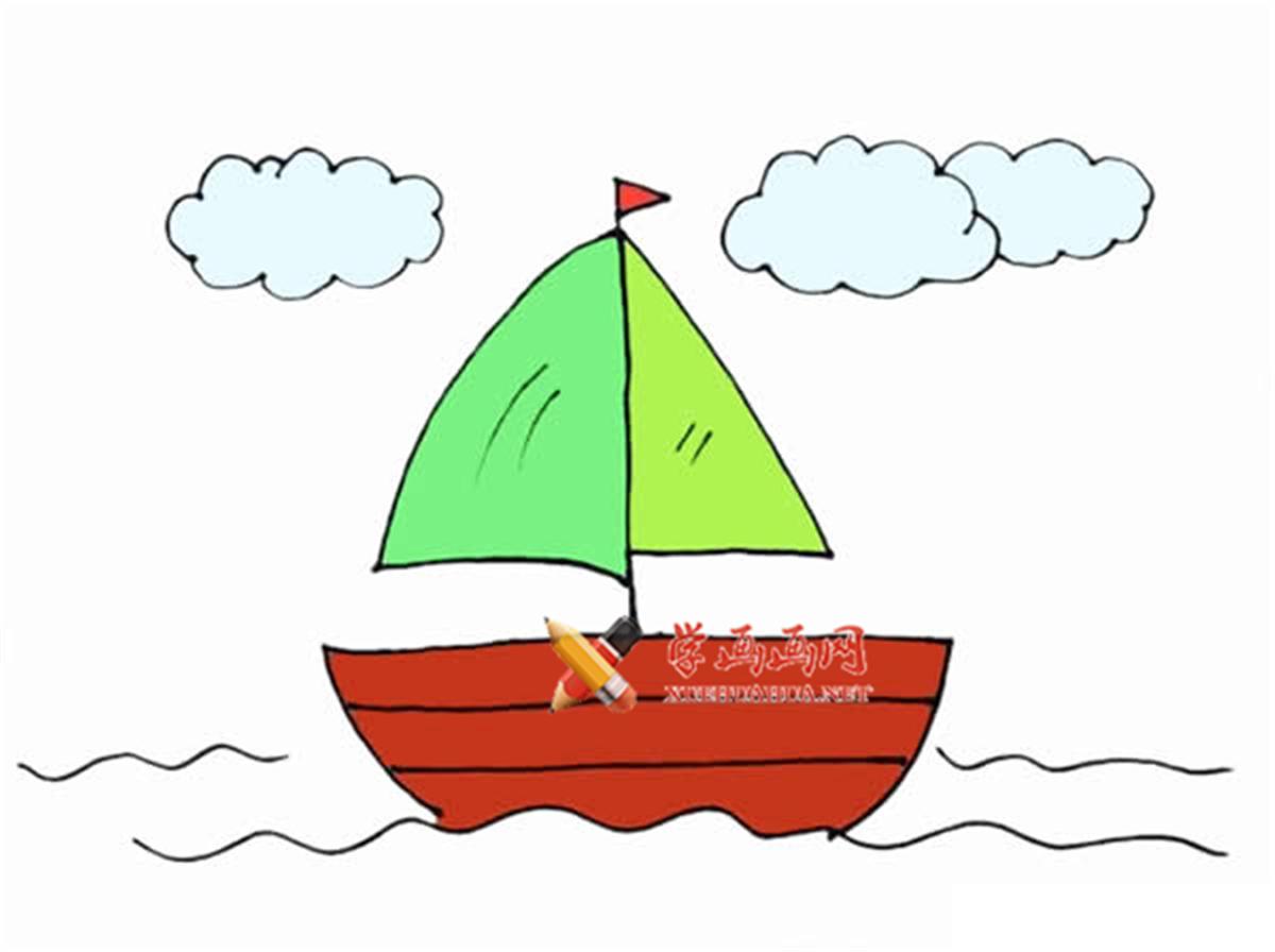 教你用数字1画帆船简笔画步骤图解教程