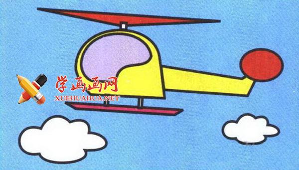 彩色直升机简笔画教程