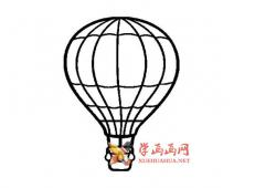 4款卡通热气球的简笔画画法图片