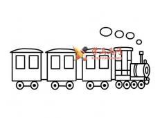 蒸汽小火车的简笔画画法图片3幅