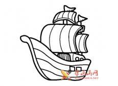 4款海盗船的简笔画画法素材赏析