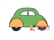 彩色小汽车的简笔画画法教程