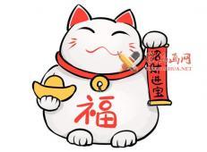 招财猫的简笔画画法教程赏析【彩色】