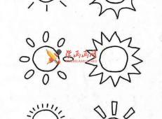 一组天气预报的简笔画画法素材