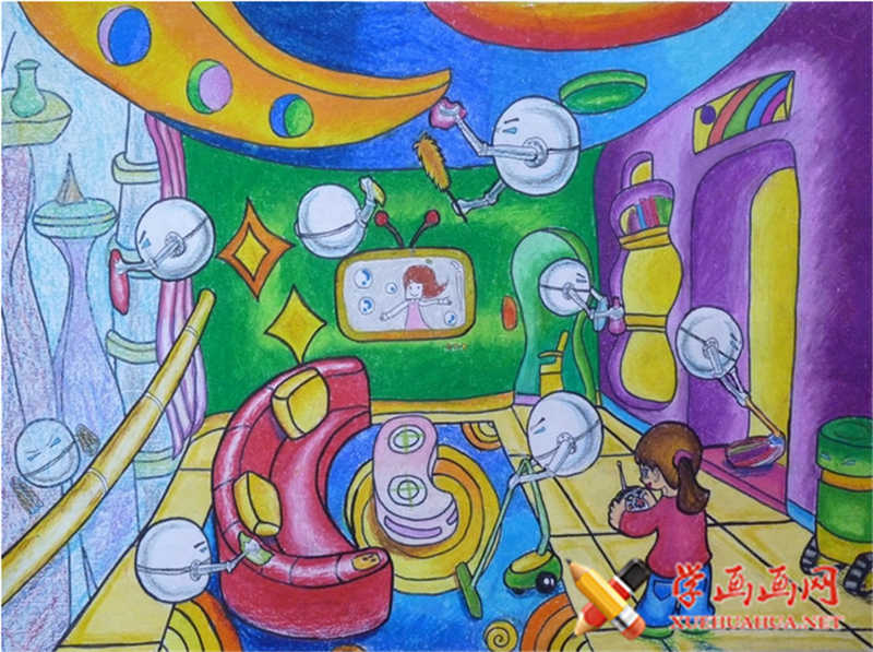 儿童科幻画作品机器人帮忙打扫卫生