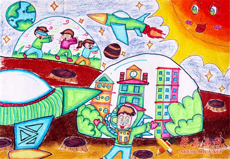 儿童科幻画作品太空家园(1)