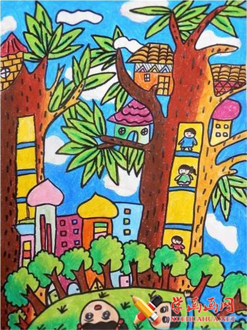 儿童科幻画,树上的房子(1)