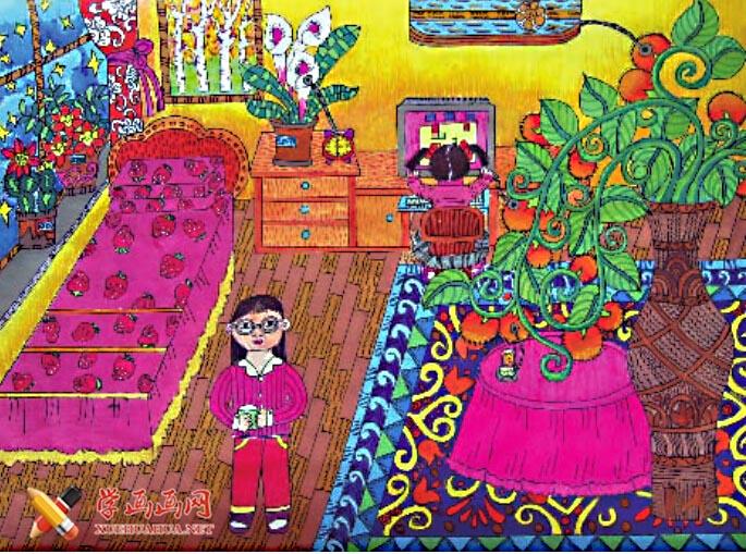 优秀儿童科幻画作品欣赏:植物发电机