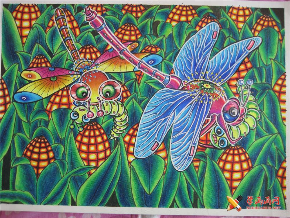 科技画欣赏《智能捕虫蜻蜓》__科幻画_科幻画图片大全图片