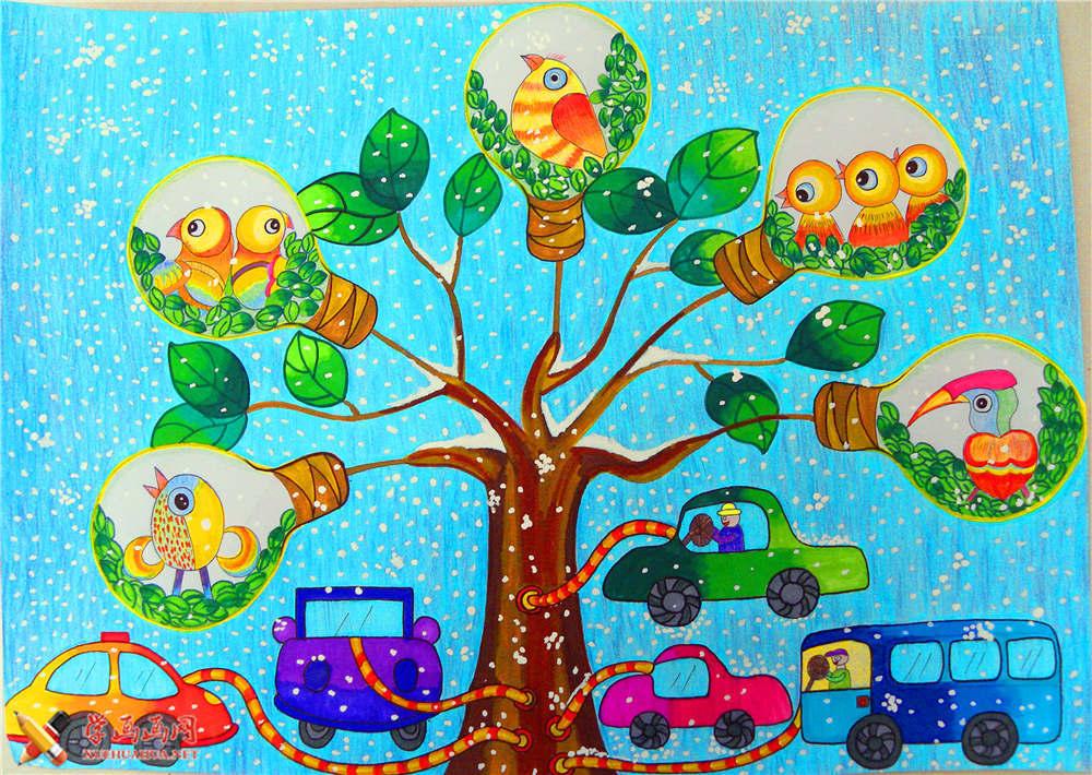 小学生获奖科幻画《人造灯泡树》(1)