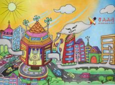 三等奖小学生科幻画《新能源大楼》