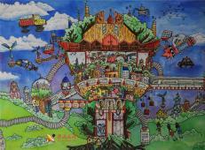 二等奖关于未来城市的科幻画作品《绿色家园》