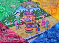 一等奖垃圾分类小学生获奖儿童科幻画《街头自动分类垃圾箱》赏析