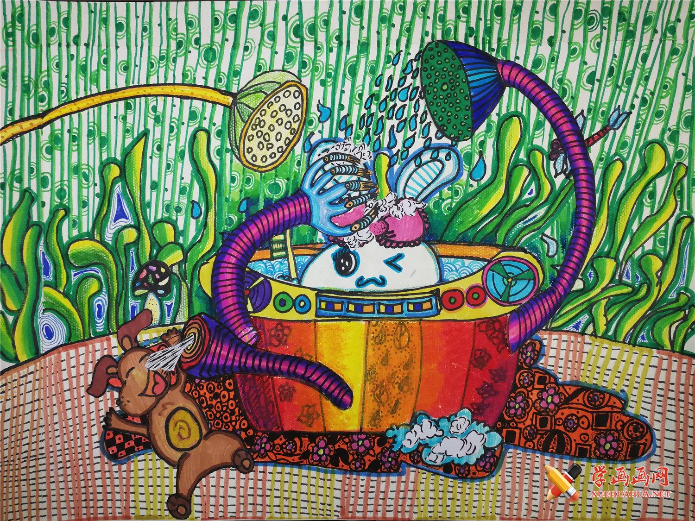 儿童画优秀作品《智能宠物洗澡盆》(1)
