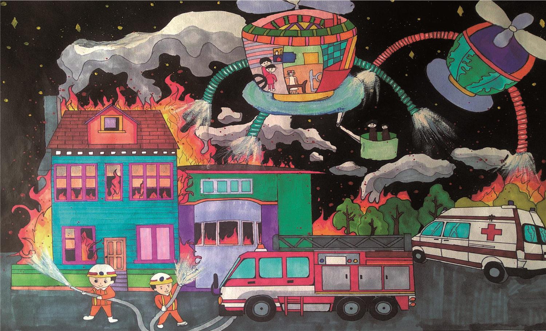 关于消防火宅的获奖儿童科幻画《智能消防机》欣赏(1)