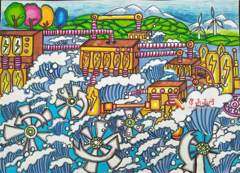 新能源环保题材获奖儿童科幻画《便携式微型水利发电机》(1)