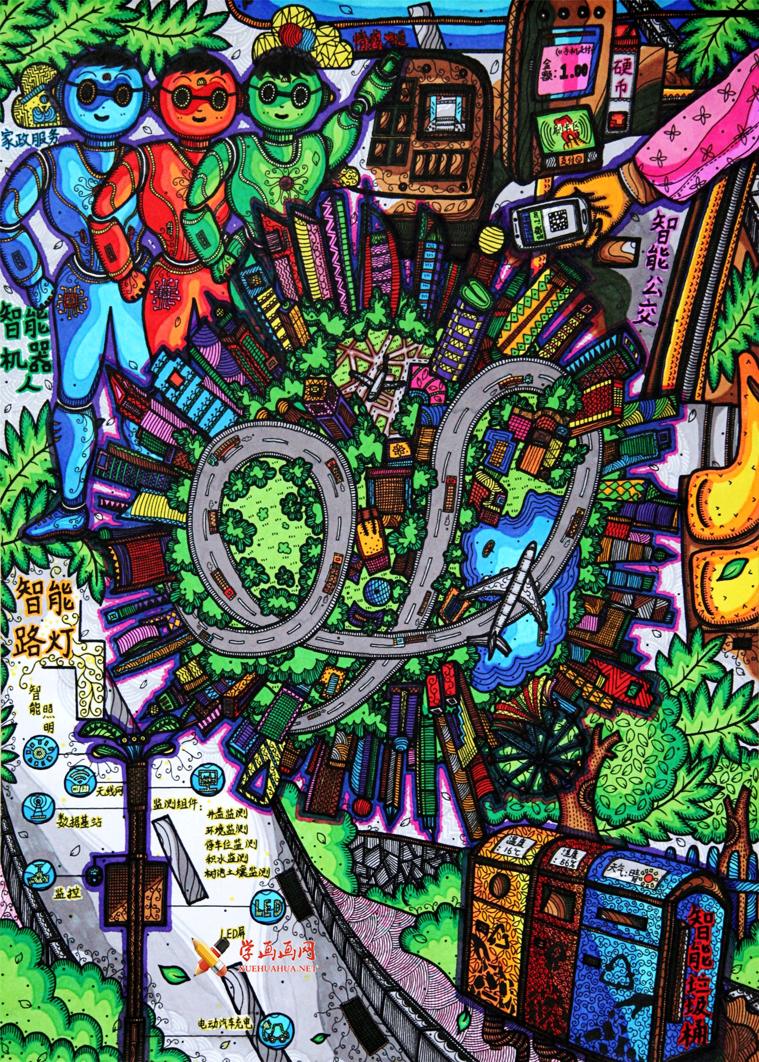 关于未来城市的儿童科幻画获奖作品《智慧城市,便捷生活》欣赏(1)