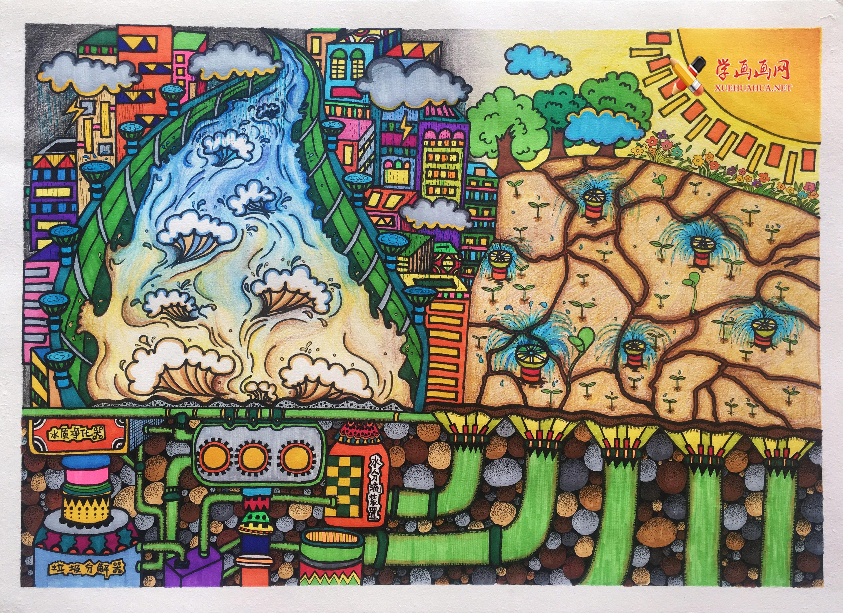 小学生一等奖4K科幻画作品《泄洪抗旱系统》(1)