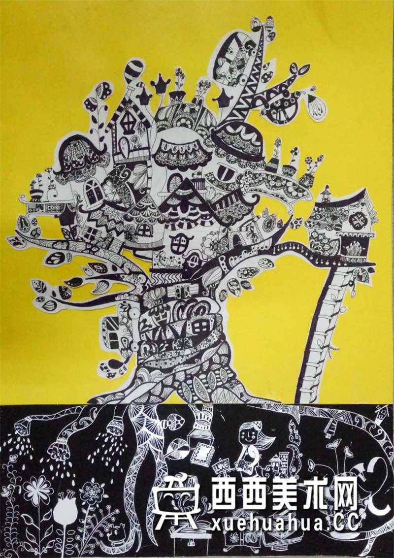 一等奖中学生获奖科幻画《能量树》赏析(1)