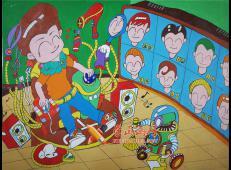 二等奖小学生科幻画《多功能自动理发椅》