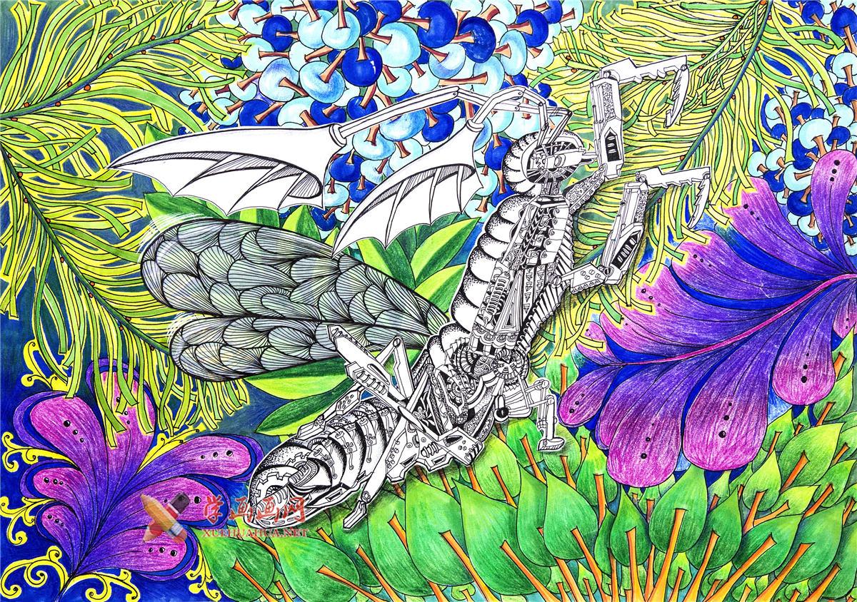 小学生一等奖获奖科幻画《三栖生态仿生螳螂》(1)