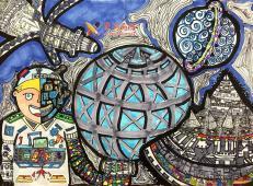 二等奖优秀小学生科幻画《宇宙小卫士》鉴赏