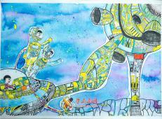 二等奖小学生优秀科幻画:《宇宙之夜》
