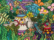 三等奖小学生优秀科幻画《雨水收集净化器》