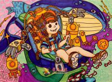 一等奖获奖科幻画:《预防近视座舱》