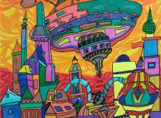 三等奖小学生创意科幻画获奖作品《月球村》