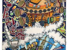 儿童一等奖科幻画《月球大气层制造器》