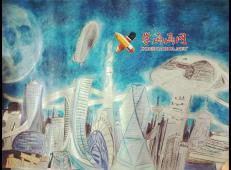中学生三等奖获奖科幻画《月球大厦》