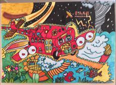 二等奖儿童科幻画《月球之旅》