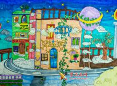 三等奖小学生科幻画赏析《云朵上的城》