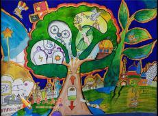 三等奖小学生科幻画《灾害预测世界树》