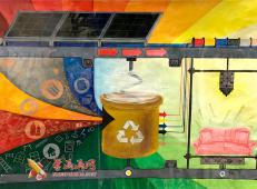 二等奖优秀科幻画作品《再生物料立體4R打印機》