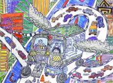 儿童科幻画:《长腿救援车》