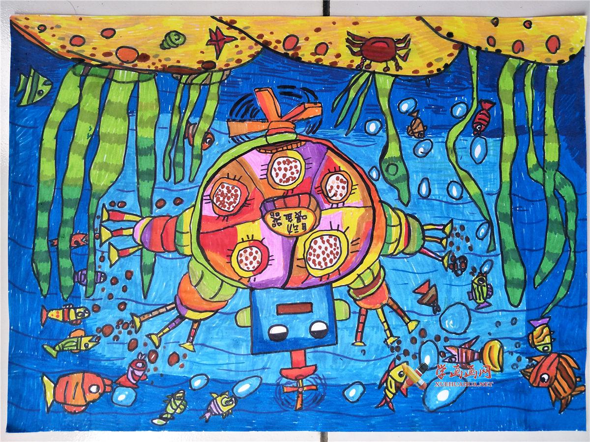 优秀三等奖儿童获奖科幻画《自动喂鱼器》赏析(1)