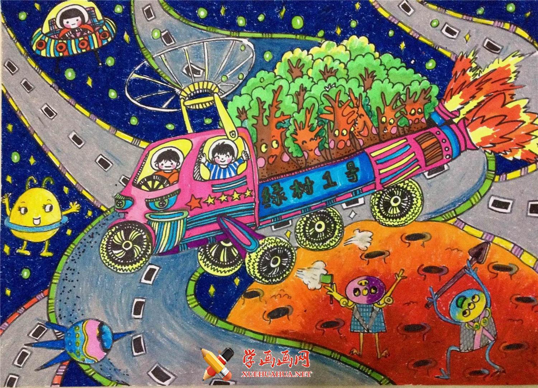 一等奖创意儿童科幻画图片《把植物送上土星》(1)