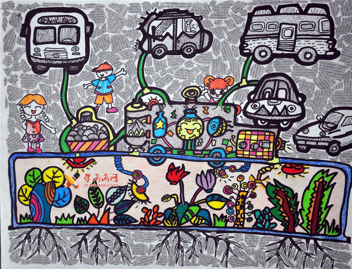 关于节能环保、能源问题的获奖儿童画图片《植物加氢站》(1)