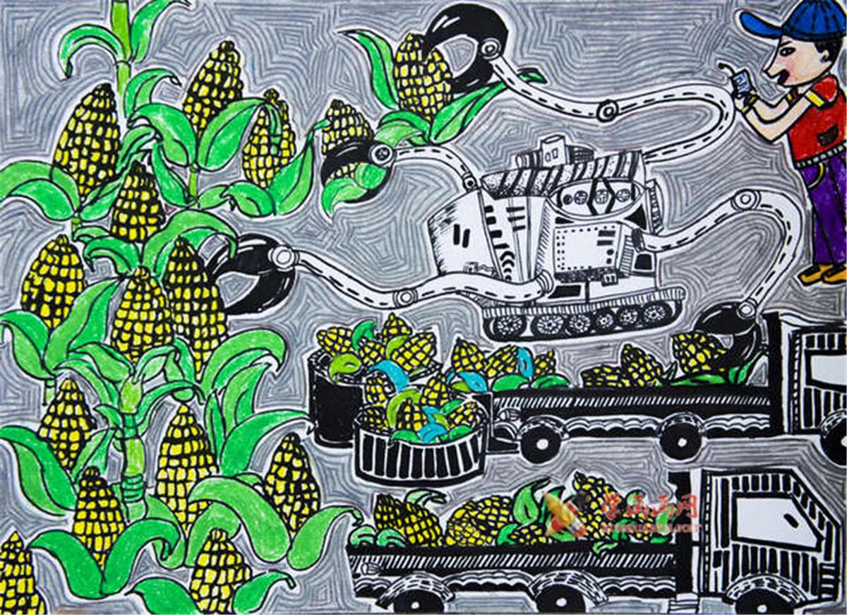五年级小学生科幻画赏析《自动收割玉米机》(1)