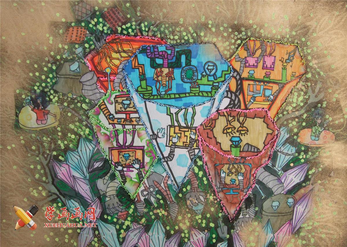 六年级获奖科幻画《钻石开采机》(1)