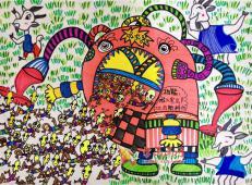 四年级获奖科幻画:《智能吸虫器》