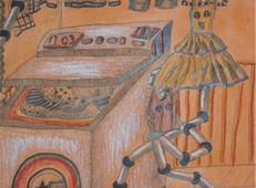 五年级小学生科幻画《智能洗衣机》鉴赏