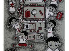 五年级小学生科幻画《智能纸浆文具再造机》