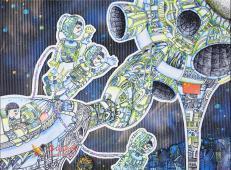 六年级小学生科幻画《中国梦-中华太空城畅想》