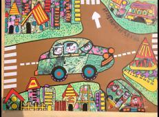 三年级小学生优秀科幻画《种上植物的汽车和房子》