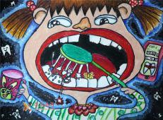 二年级小学生二等奖科幻画《蛀牙检测器》