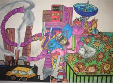 五年级获奖环保科幻画《自动环保采种机》