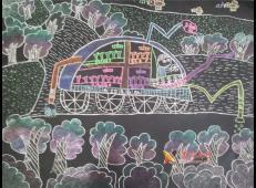 五年级小学生科幻画作品《自动浇花机》